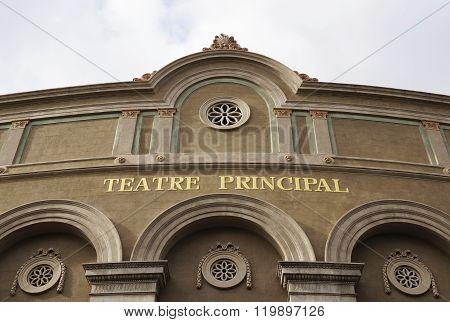Facade Of Teatre Principal In Barcelona