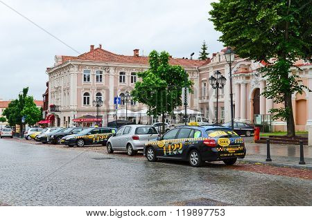 Taxi In The Street Of The Old Town, Vilnius, Lithuania