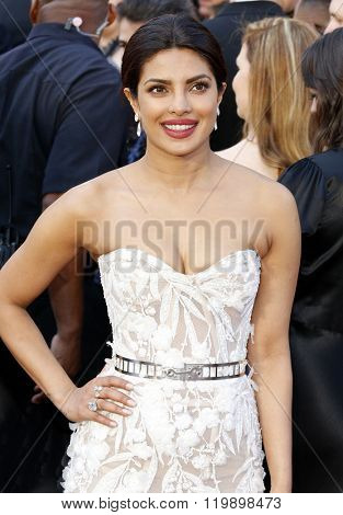 Priyanka Chopra at the 88th Annual Academy Awards held at the Hollywood & Highland Center in Hollywood, USA on February 28, 2016.
