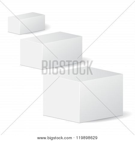 Set Of Cardboard Package Isolated Box. Mock Up, Template. Stock Vector