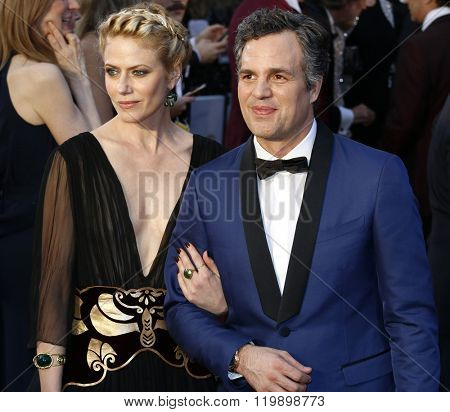 Mark Ruffalo and Sunrise Coigney at the 88th Annual Academy Awards held at the Hollywood & Highland Center in Hollywood, USA on February 28, 2016.