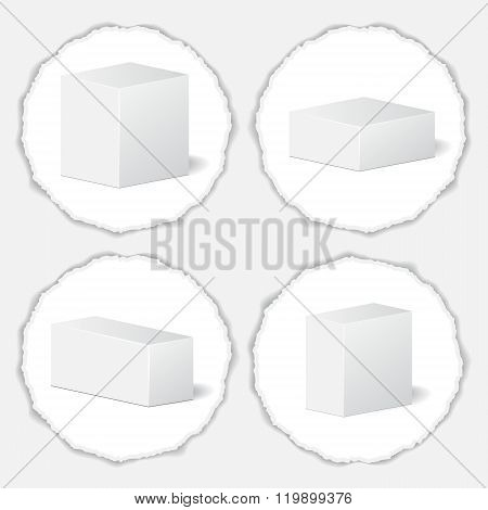 Cardboard Package Isolated Box On The Torn Background. Mock Up, Template. Stock Vector