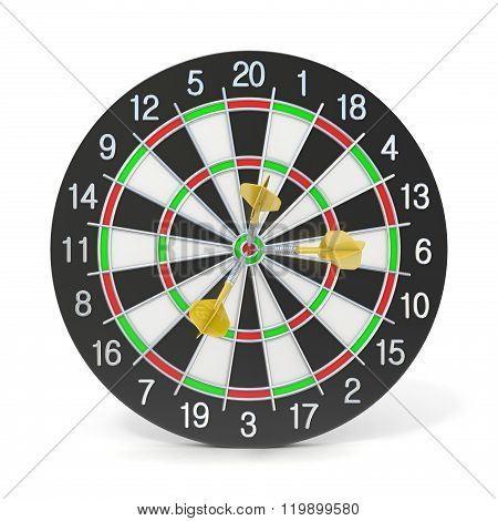 Dartboard with three orange darts on bullseye. Front view. 3D