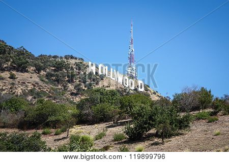 Hollywood Hills With Blue Sky