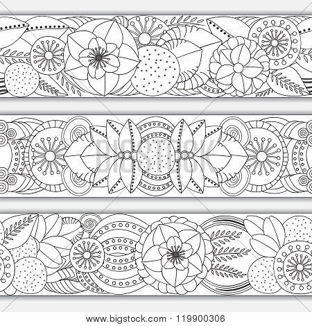 Stock Vector Seamless Doodle Floral Black And White Pattern. Orient.border