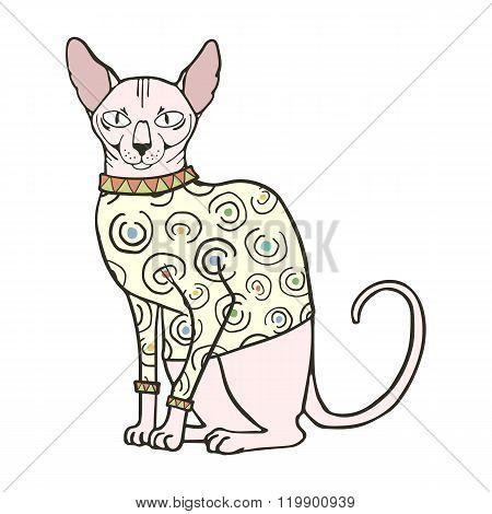 Vector illustration of sphinx cat in sweater