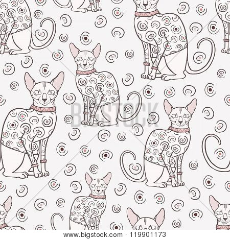 Seamless pattern with sphinx cat in sweater