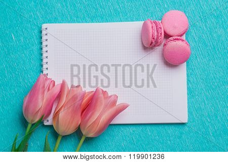 Three Pink Tulips And Three Pink Macaroons