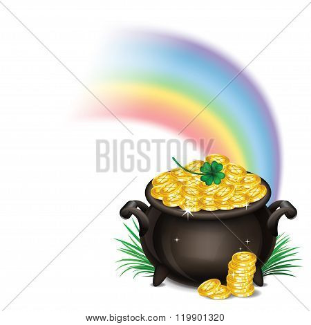 St.patrick's Day Background With Pot Of Gold, Magical Treasure, St. Patrick's Day Symbol. Vector