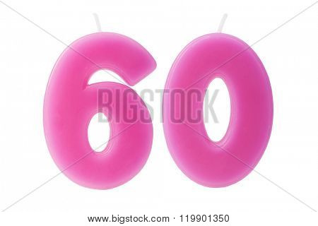 Colorful birthday candles in the form of the number 60 on white background