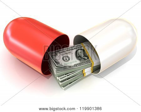 Opened red pill capsule with dollars stack inside