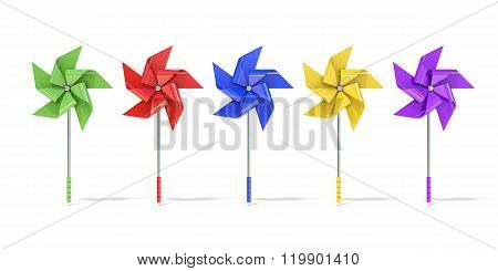 Five colorful five sided pinwheels. 3D