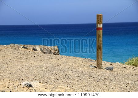 wood stake on the beach in Fuerteventura