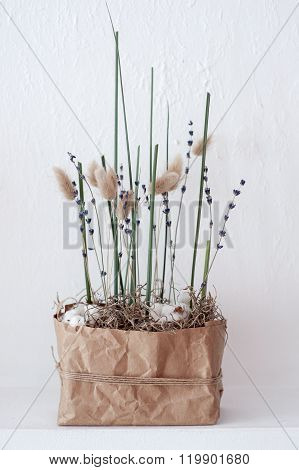 Flower Composition With Cotton , Lavender And Green Grass