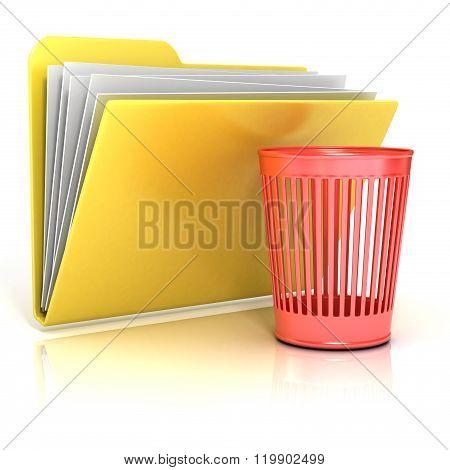 Empty red recycle bin folder icon 3D