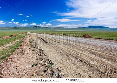 Dirt Road & Blue Sky, Mongolian Steppe