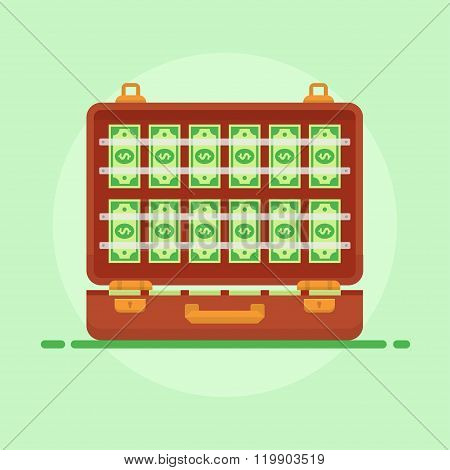 Suitcase Money Vector Illustration