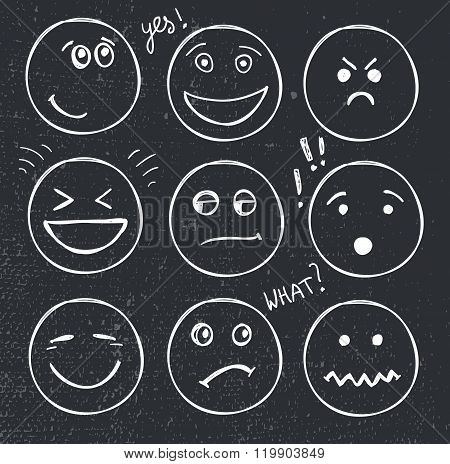 vector set of hand drawn faces, moods, smiles isolated.