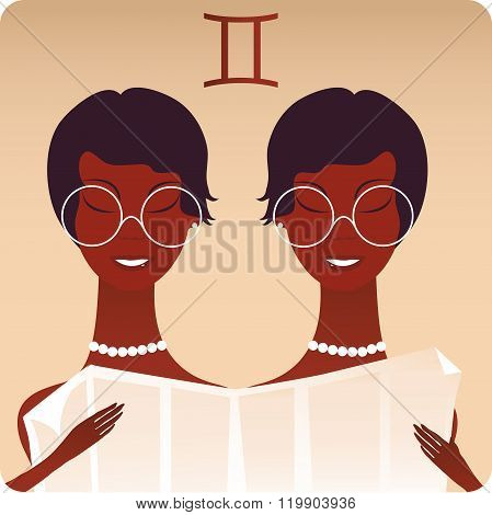 Cartoon Illustration Of Gemini Or The Twins Horoscope Zodiac Sign Reading The Newspaper