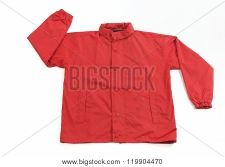 Red Raincoat Shot in Studio on White Background