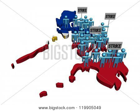 workers on strike on Philippines map flag illustration