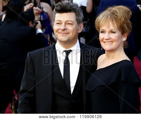 Lorraine Ashbourne and Andy Serkis at the 88th Annual Academy Awards held at the Hollywood & Highland Center in Hollywood, USA on February 28, 2016.