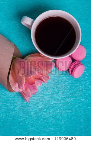 Three Pink Tulips, A Cup Of Coffee And Three Pink Macaroons