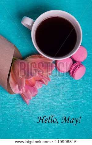 Tag Hello May And Three Pink Tulips, A Cup Of Coffee
