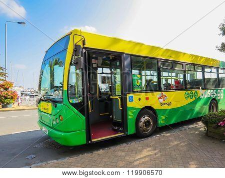 Saint Peter Port, Guernsey, Uk - September 11, 2014:  Bus Services In Guernsey, Saint Peter Port, Ba