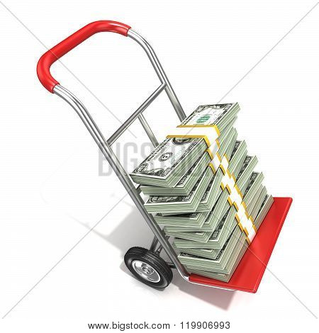 Hand truck with stacks of hundreds dollars