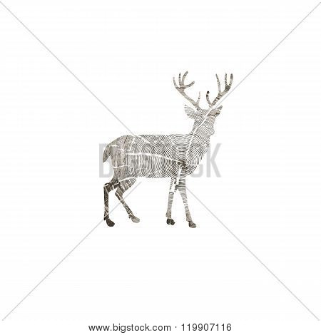 silhouette of a deer. Inside tree wood vector illustration (Cover for musical album, style t-shirts)