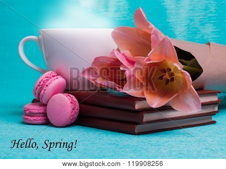 Tag Hello Spring With Three Pink Tulips, A Cup Of Coffee