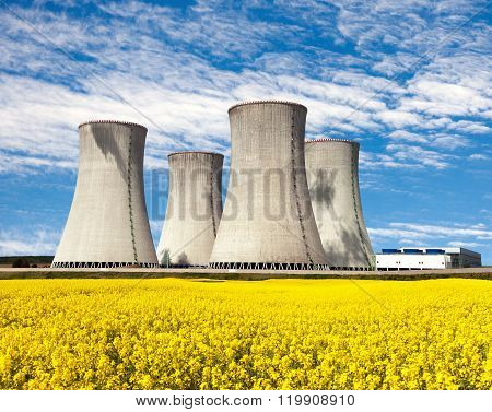 Nuclear Power Plant And Field Of Rapeseed