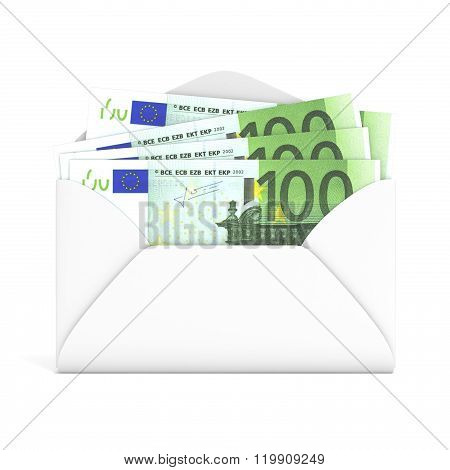 Euros in envelope. Front view. 3D