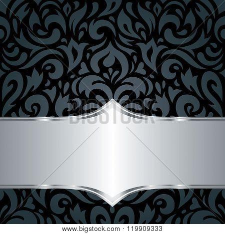 Floral Black & silver luxury vintage background
