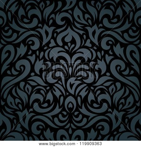 Floral Black luxury vintage background