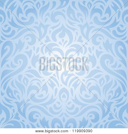 Floral blue seamless pattern background