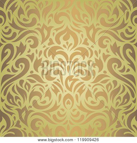 Floral green & brown vintage retro design