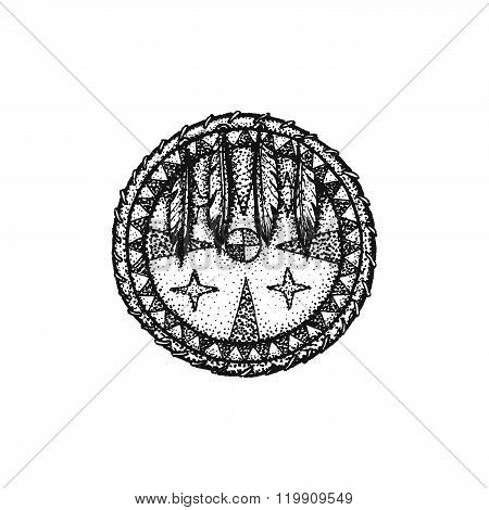 Hand Drawn Indian Shield Vintage Illustration.
