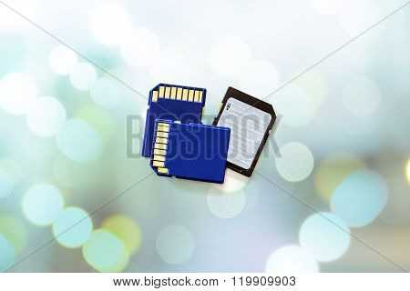 Sd Card Isolated On beautiful Background.
