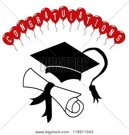 Graduation Cap And Certificate With Congratulations Balloons