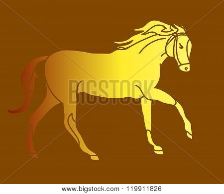 The Silhouette Of A Horse Gallop (gold)