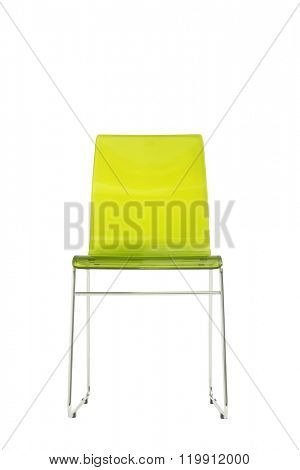 modern green plexiglass chair isolated on white