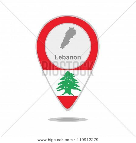 A pointer with map and flag of Lebanon