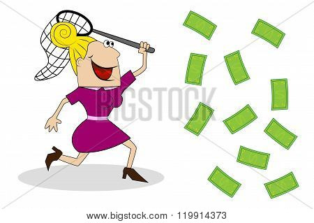 A Woman With A Butterfly Net Catches Of Money