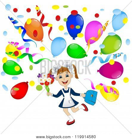 Cheerful Girl In School Uniform And Balloons