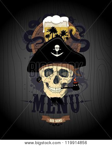 Retro style bar menu design with pirate skull, glass of beer and rum barrel