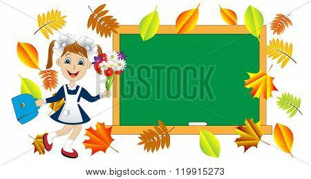 Cheerful Girl With A Bouquet Of Flowers And The School Board