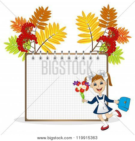 Cheerful Girl In School Uniform On The Background Of A Notebook And The Branches Of The Ash Tree