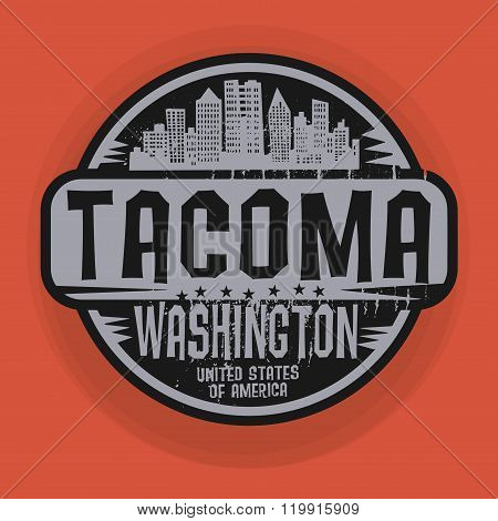 Stamp Or Label With Name Of Tacoma, Washington